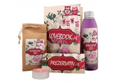 Bohemia Gifts Lovebook shower gel 200 ml + bath salt 150 g + condom 1 piece + candle 1 piece, cosmetic set
