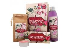 Bohemia Gifts & Cosmetics Lovebook shower gel 200 ml + bath salt 150 g + condom 1 piece + candle 1 piece, cosmetic set