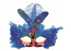 Plesová škraboška červená s modrým peřím 30 cm