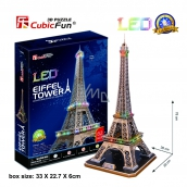 CubicFun Puzzle 3D Eiffel Tower LED illuminated 82 pieces night edition 39 x 78 x 36 cm
