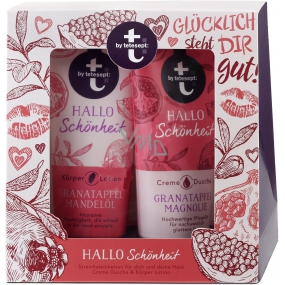 T: BY Tetesept Hallo Schönheit Pomegranate and magnolia shower gel 200 ml + body lotion 200 ml for perfect skin cosmetic set