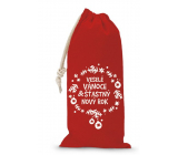 Nekupto Cloth bag for Christmas bottle Merry Christmas & Happy New Year red 150 x 300 mm