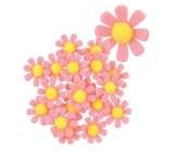 Felt flowers with a pink sticker 3.5 cm in a box of 18 pieces