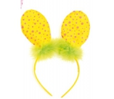 Headband ears with feather yellow polka dot 23 cm
