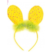 Headband ears with feather yellow polka dot 23 cm