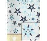 Nekupto Christmas wrapping paper Silver, blue stars 0.7 x 5 m