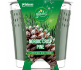 Glade Nordic Crisp Pine with the scent of pine, juniper and mistletoe scented candle in a glass, burning time up to 32 hours 129 g