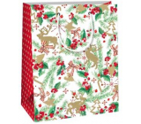 Ditipo Gift paper bag 18 x 10 x 22.7 cm white twig needles, holly, bows C