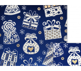 Nekupto Gift wrapping paper 70 x 200 cm Christmas Blue white gifts, bells