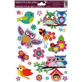 Room Decor Window foil without glue bird in a booth with owls 30 x 20 cm