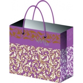 Gift bag All year round with golden embossing purple E 23 x 18 x 10 cm