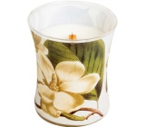 WoodWick Candle Glass Medium Decal Magnolia
