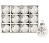 White glass flasks with snowflake set 3 cm, 12 pieces