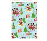 Ditipo Gift wrapping paper 70 x 200 cm Christmas Disney Mickey and Minnie on a light blue cable car