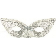 Skull with Glitter cat eyes Silver suitable for adults 1 piece