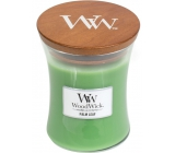 WoodWick Palm leaf - Palm leaf scented candle with wooden wick and glass lid small 85 g