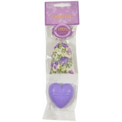 Le Chatelard Violet fabric bag filled with 7 g fragrance + French natural heart soap 25 g, cosmetic set