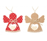 Red and jute angel 9 cm, 2 pieces in bag