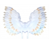 Angel wings with feathers white-gold 67 x 46 cm