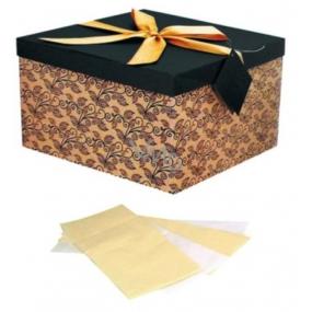 Angel Folding gift box with ribbon dark brown with beige L 22 x 22 x 13 cm 1 piece