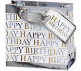 BSB Dárková papírová taška střední 23 x 19 x 9 cm Happy Birthday bílá LDT 378-A5