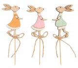 Bunny wooden recess 8 cm + skewers of different colors 1 piece