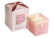 jFenzi Desso Mon Amie Sojová vonná svíčka s vůní parfému Hugo Boss Ma Vie Pour Femme Ručně vyrobena růžová 200 g