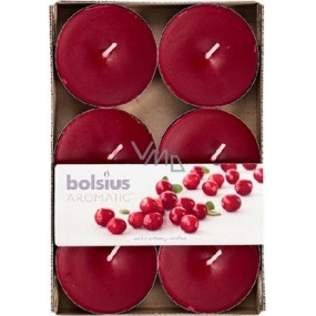 Bolsius Aromatic Maxi Wild Cranberry with the scent of cranberries scented tealights 6 pieces, burning time 8 hours