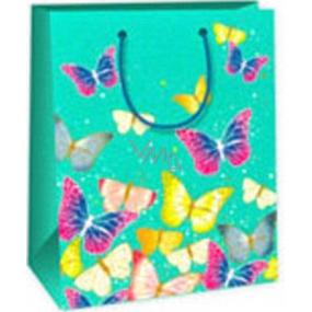 Ditipo Gift paper bag 18 x 10 x 22.7 cm light green butterflies