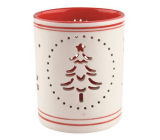 White-red ceramic candlestick with a 9 cm tree