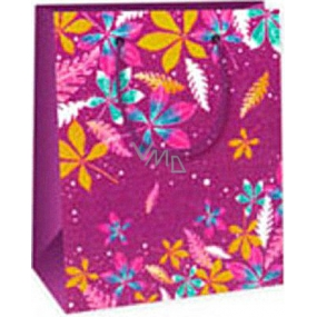 Ditipo Gift paper bag 11.4 x 6.4 x 14.6 cm purple colored leaves