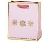 BSB Luxury gift paper bag 23 x 19 x 9 cm Christmas pink with gold flakes VDT 447 A5