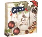 Big Soft Vánoční papírové ubrousky Hnědé ozdoby + bílá hvězda 33 x 33 cm 2 vrstvé 20 kusů