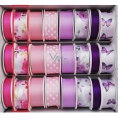 Ditipo Ribbon satin 3 mx 25 mm pink flowers