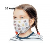3-layer protective medical non-woven disposable, low respiratory resistance for children 10 pieces white paw print