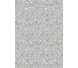 Ditipo Gift wrapping paper 70 x 200 cm Christmas silver white and gold stars