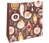 Nekupto Gift paper bag luxury 33 x 33 cm Christmas brown with decorations WLIL 1979