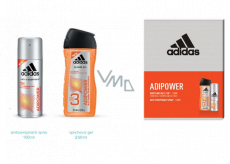 Adidas Adipower antiperspirant deodorant spray for men 150 ml + shower gel 250 ml, cosmetic set