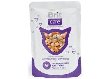 Brit Care Kuře + sýr kousky masa pro koťata kapsička 80g