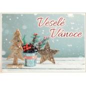 Nekupto Postcard Christmas Tree, star, flower 15 x 11 cm
