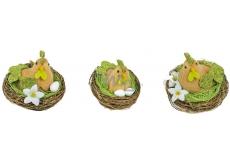 Slepička v hnízdě hnědo-zelená 6,5 cm 1 ks