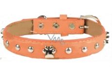 Collar Leather orange decorated with paws 2.5 x 55 cm