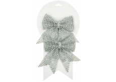 Christmas silver bow with stones 2pcs, 12cm