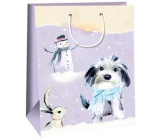 Ditipo Gift paper bag 32.4 x 10.2 x 44.5 cm purple dog with snowman DXA