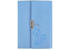 Albi Block in folding PU cover, lined blue 80 sheets 14 cm x 19.5 cm x 2.3 cm