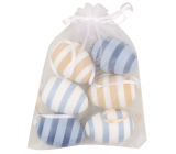 Striped plastic eggs for hanging 6 cm, 6 pieces in organza