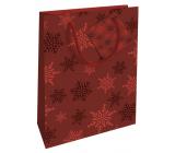 Nekupto Gift paper bag 14 x 11 x 6.5 cm Christmas red snowflakes WBS 1918 30