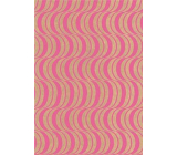 Ditipo Gift wrapping paper 70 x 200 cm KRAFT Pink ornaments