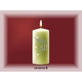 Lima Jubilejní 60 let svíčka bílá zdobená 70 x 150 mm 1 kus
