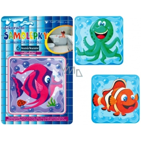 Room Decor Wall stickers waterproof fish in a square 25 x 16 cm 6 pieces
